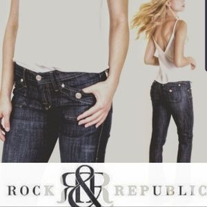 Rock & Republic Scorpion Flare Blue Jeans